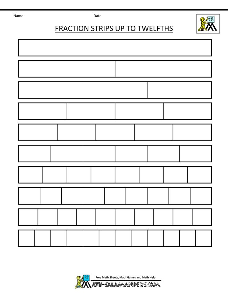 math salamanders printable fraction strips up to twelfths blank