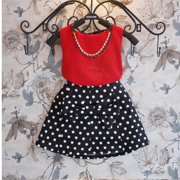 Girl's Formal Top With Polka Dot Skirt