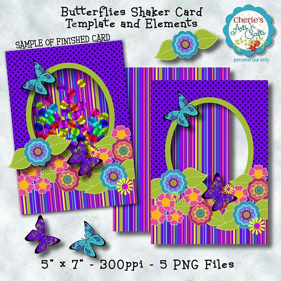 Shaker Card Butterflies Shaker Card Template And Elements Etsy In 2021 Shaker Cards Paper Projects Diy Card Template