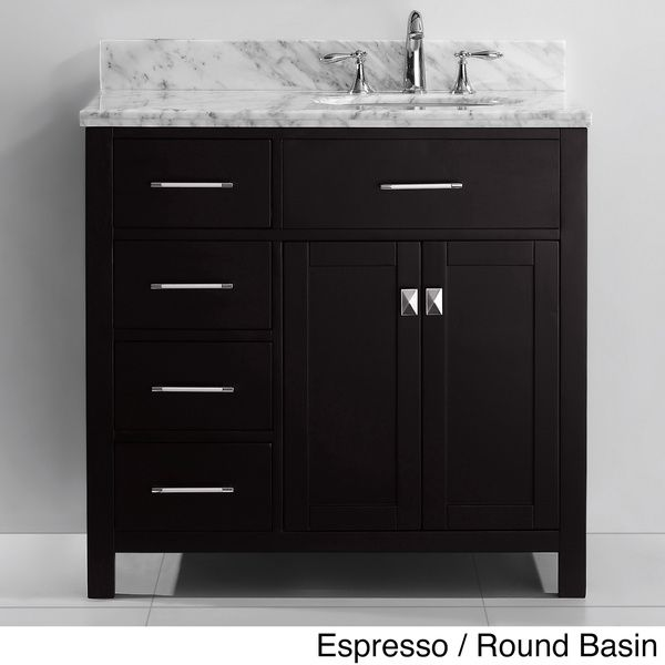 Virtu usa caroline parkway 36 inch single sink bathroom - Bathroom vanity with drawers on left ...