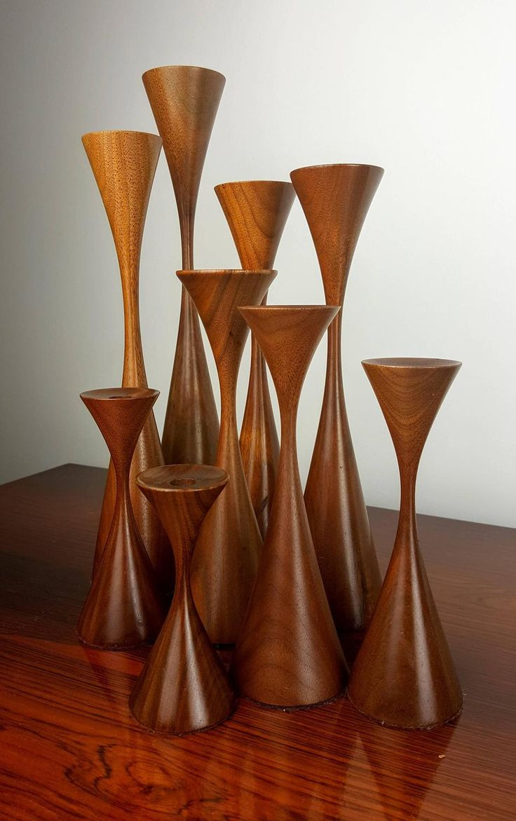 Grouping of Nine Masterfully Turned Wood Candlesticks by Rude Osolnik, 1970s | From a unique collection of antique and modern candle holders at https://www.1stdibs.com/furniture/decorative-objects/candle-holders/