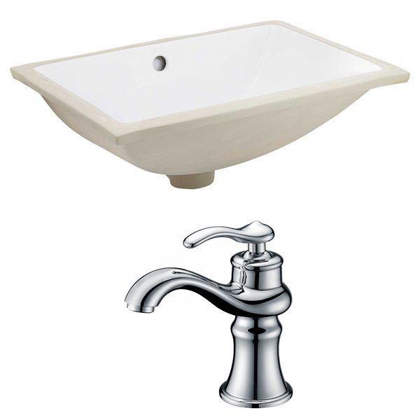 American Ideas 20 75 Inch W Rectangle Undercounter Drop In Washbasin Set With 1 Hole Cupc Tap White Ceramic Rona In 2020 Bathroom Sink Sink Undermount Bathroom Sink
