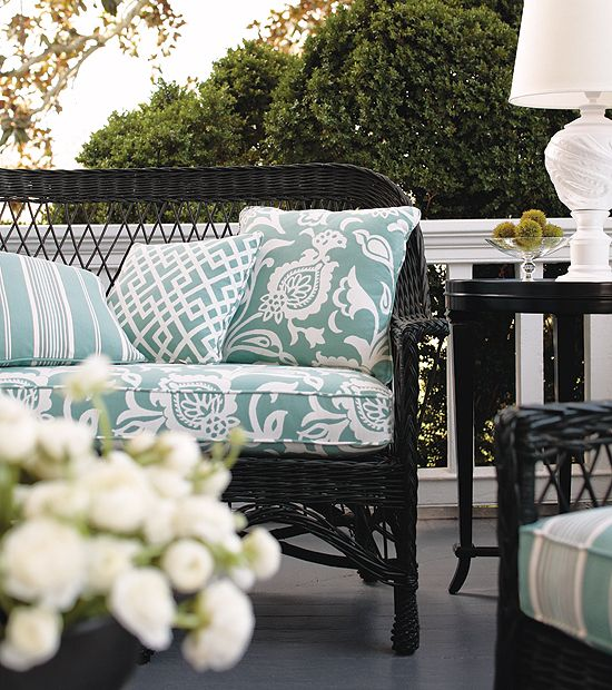 Bolton Outdoor Fabric with Linden Hill Stripe Gabriel Outdoor Fabric pillows from the Courtyard Collection by Thibaut.