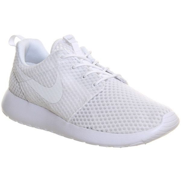 Nike Roshe Run ($110) ❤ liked on Polyvore featuring shoes, athletic shoes, sneakers, trainers, unisex sports, white mono, white shoes, sports shoes, waffle shoes and sporting shoes
