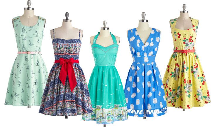 selection of summer dresses in a retro-inspired style
