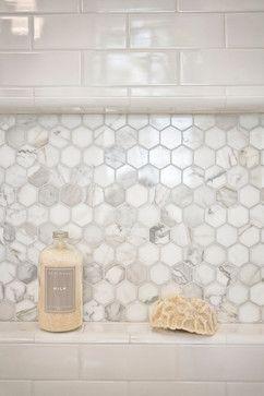 hexagon marble bath tile | white #subway