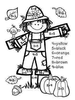 FREEBIE!!! Fall Addition Color By Number-change this to single digits for preschool number recognition.