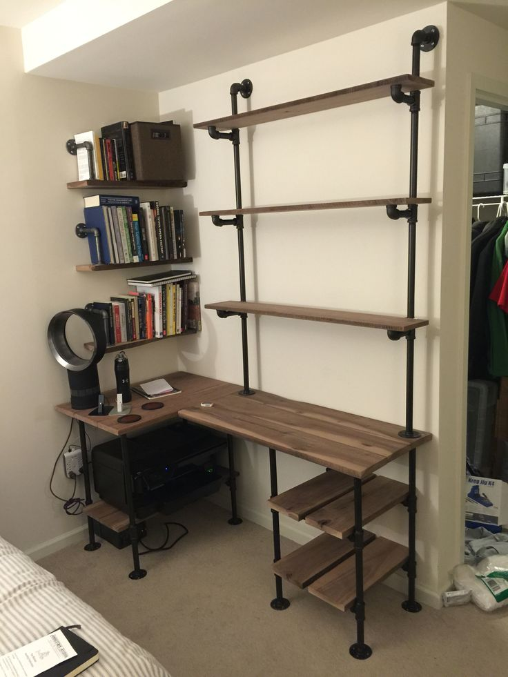 industrial pipe and walnut l shaped desk with shelves - Home Desk Ideas