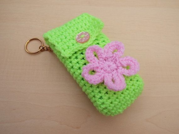 Hand crochet pocket tissue cover keyring  bright green with