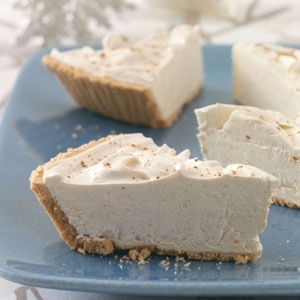 Eggnog Pie (Taste of Home):   cream cheese, butter, confectioners sugar, eggnog, sour cream, pumpkin pie spice, whipped topping, graham cracker crust, ground nutmeg -- {YUM!!!}