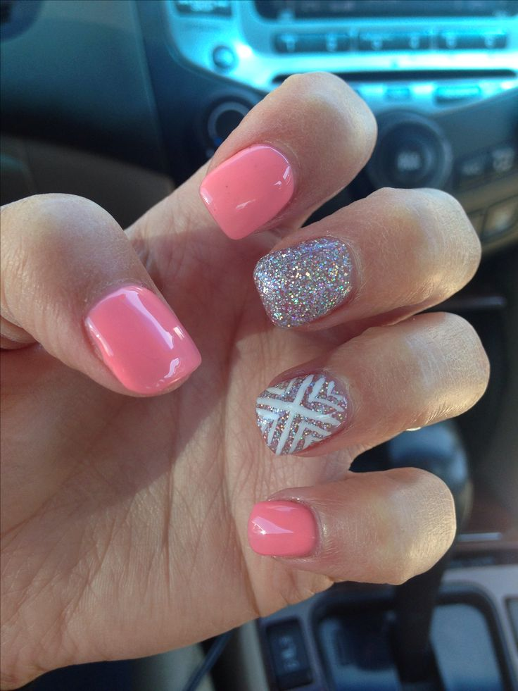 Cute silver peach white acrylic nail design