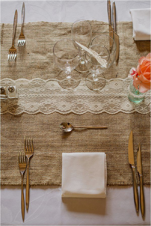 Burlap and lace wedding table | Image by Claire Morris Photography, see more http://goo.gl/RWyjeK