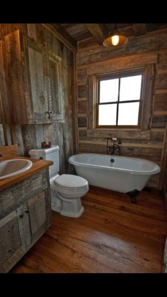 cute cabin bathroom home remodel pinterest rustikale b der rustikal und badezimmer. Black Bedroom Furniture Sets. Home Design Ideas