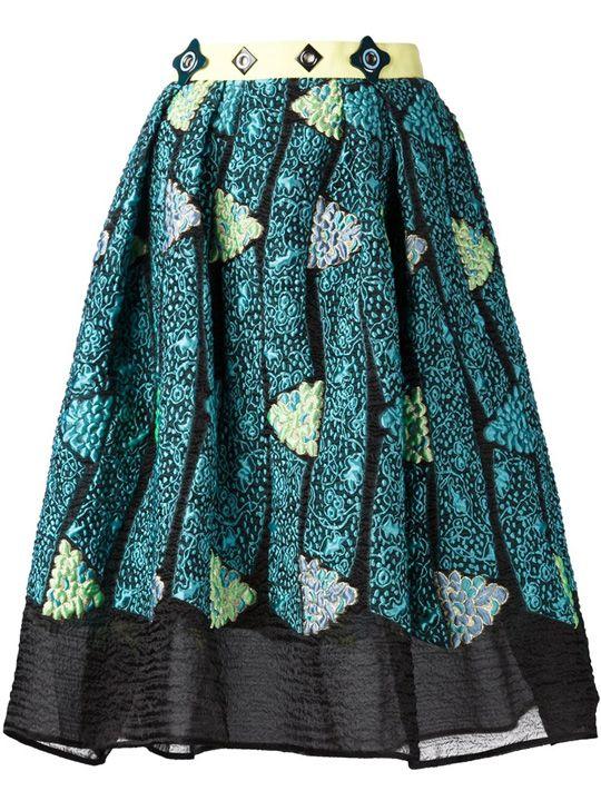 Peter Pilotto Skirt Rok Bordir dengan Aksen Tembus Pandang | Style.com Indonesia