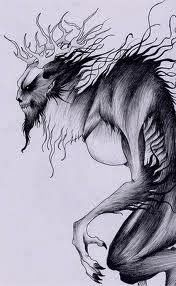 Early settlers described it as a werewolf, devil, or cannibal. A wendigo is a supernatural entity that feeds on human flesh. It is always hungry and never stops feeding. Native Americans believe that a wendigo is made when a man eats his own kind.: