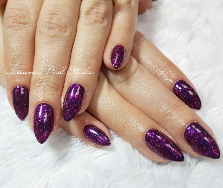 CND Shellac Nail Art by Gossamer Nail Studio, purple, sparkle, glitter, stiletto