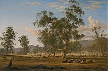 John Glover, Australia landscape with Cattle, the artist's property Patterdale, oil on canvas, 1835