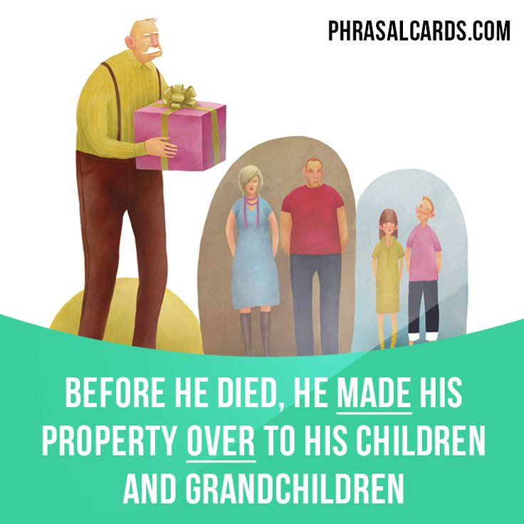 """Make over"" means ""to officially make someone else the owner of something"".  Example: Before he died, he made his property over to his children and grandchildren.  #phrasalverb #phrasalverbs #phrasal #verb #verbs #phrase #phrases #expression #expressions #english #englishlanguage #learnenglish #studyenglish #language #vocabulary #dictionary #grammar #efl #esl #tesl #tefl #toefl #ielts #toeic #englishlearning #vocab #wordoftheday #phraseoftheday"