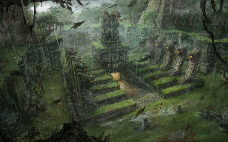 Tomb Raider Underworld conceptual artwork Lara Croft fantasy jungle inca aztec mayan architecture rain drops buildings wallpaper | 1920x1200...