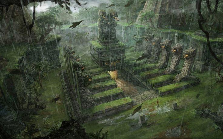 Tomb Raider Underworld conceptual artwork Lara Croft fantasy jungle inca aztec mayan architecture rain drops buildings wallpaper | 1920x1200...