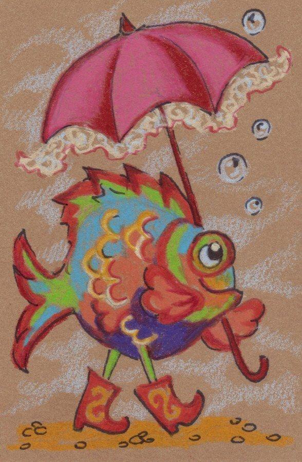 Akimova: FISH, Happy Birthday, cartoon, animal, ACEO #Miniature