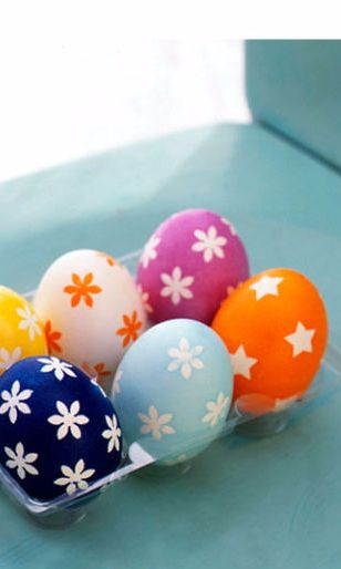 For these colorful Easter eggs, use paper punches to cut forms from painter's masking tape.