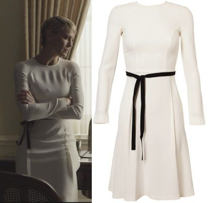 silver jewellery wholesalers Claire House of Cards Robin White Long Sleeve Dress Black belt HOUSE OF CARDS SEASON 2 FASHION  WHAT CLAIRE WORE EP 3 6