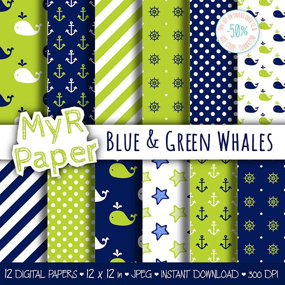 "Digital Paper Pack: ""Blue & Green Whales "" #patterns and backgrounds with anchor, rudder, ship'swheel, whales, starfish. Digital Scrapbooking  50% OFF ON ORDERS OVER 12 $ (O... #design #graphic #digitalpaper #scrapbooking"