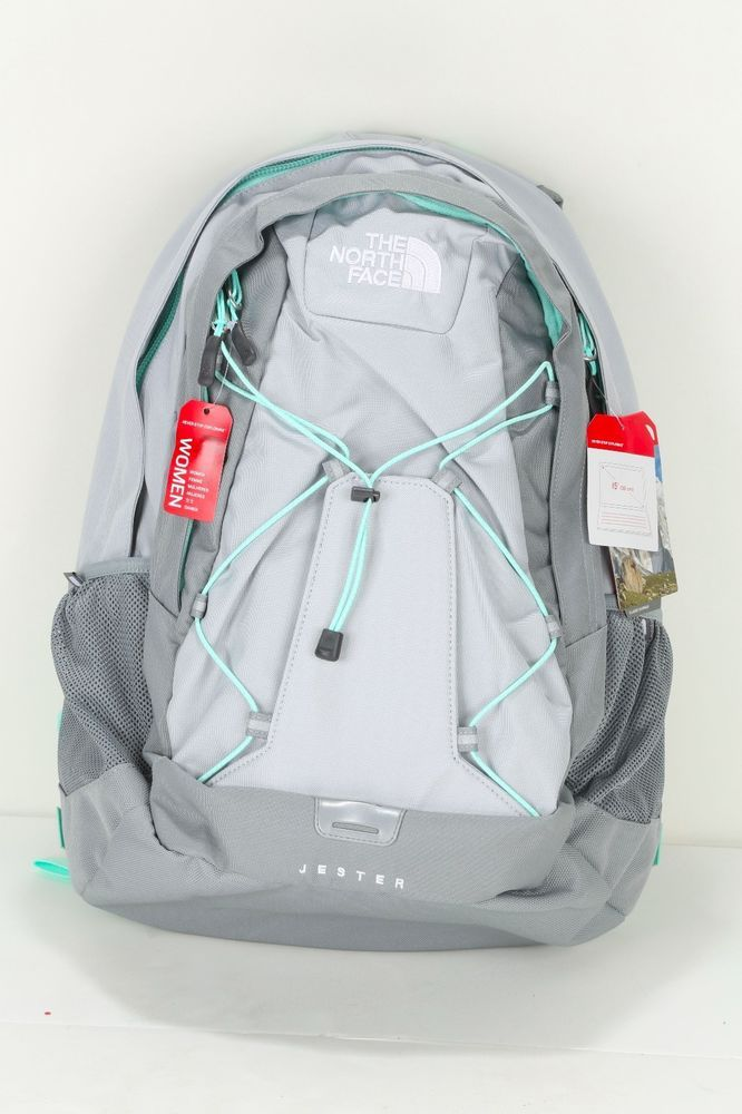 NEW THE NORTH FACE JESTER BACKPACK CE87L8B HIGH RISE GREY/GLASS GREEN (T) #THENORTHFACE