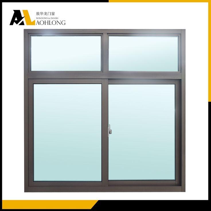 Two Transom Over Aluminium Frame Horizontal Sliding Double Glazed Windows