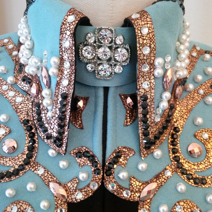 "Lasting Impressions - detail of collar ""Promise me Pearls and Horses"""
