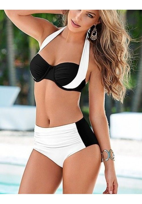 Kaplı Siyah Beyaz Şık Tasarımlı Bikini Www.cimrikadin.com