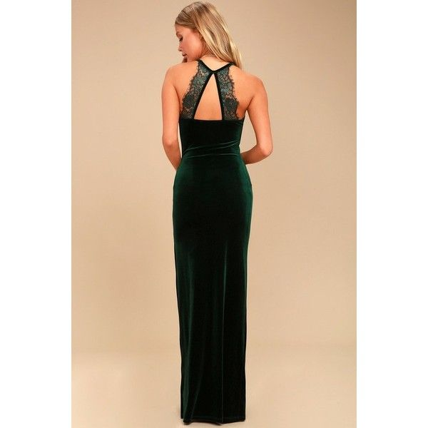 Lulus  Crazy Over You Forest Green Velvet Maxi Dress ($64) ❤ liked on Polyvore featuring dresses, maxi dresses, beige maxi dress, long maxi skirts, long velvet skirt and sexy velvet dress