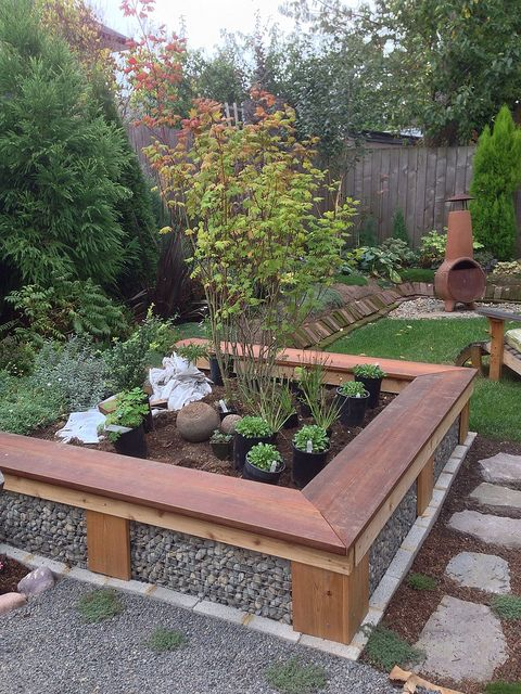 """raised bed with gabion walls """"The Bumpout"""" 