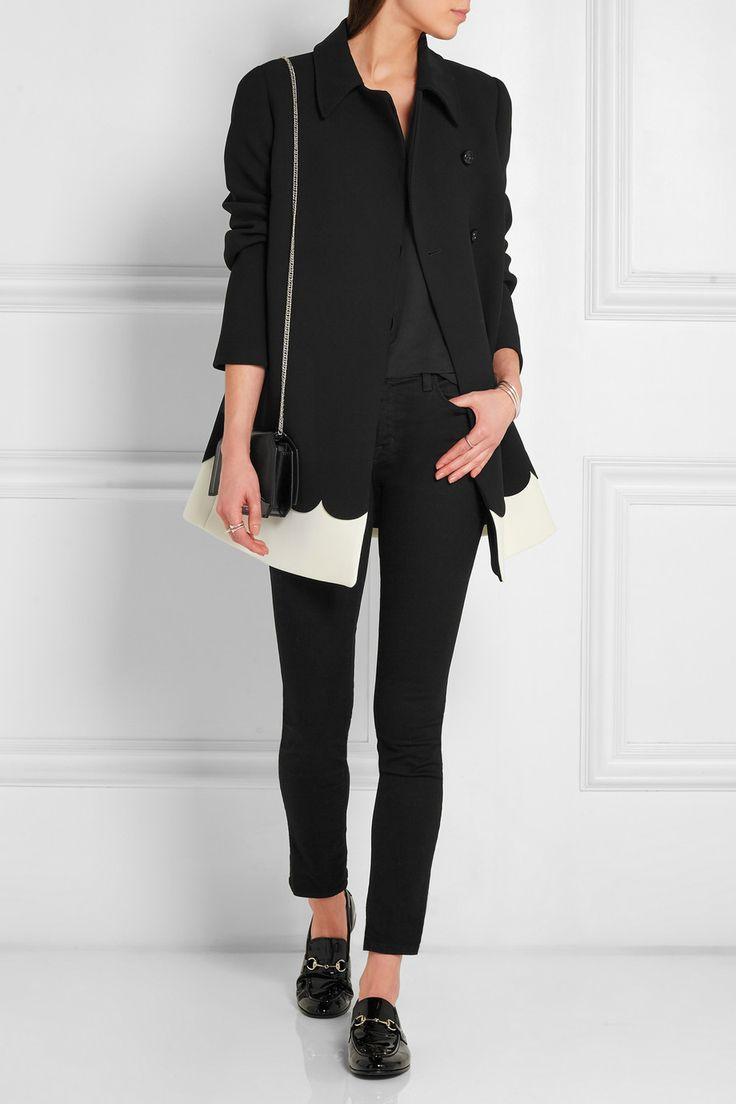 REDValentino | Two-tone scalloped tech-jersey coat | NET-A-PORTER.COM