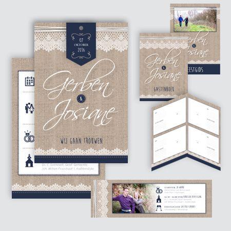 Trouwkaart Gerben en Josiane, ontworpen door Ontwerp Studio Rottier