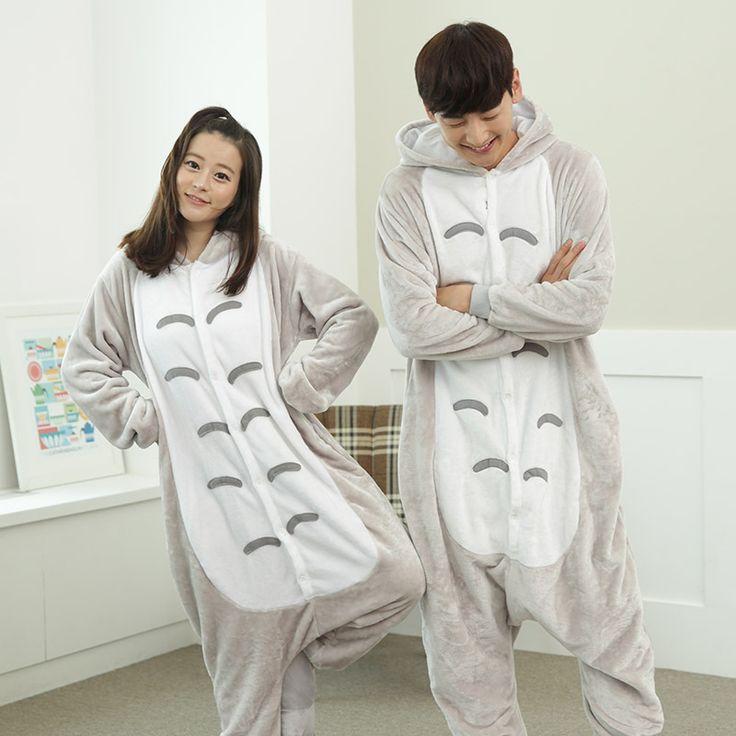 Panda Totoro Unisex Flannel Hoodie Pajamas Cosplay Animal Onesies Sleepwear For Men Women Adults onesie pijama