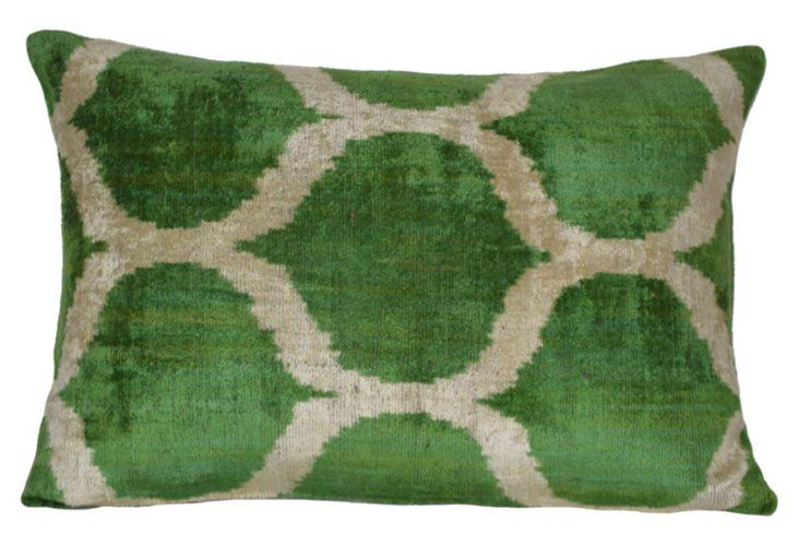 Bedir 16x24 Silk Pillow, Green
