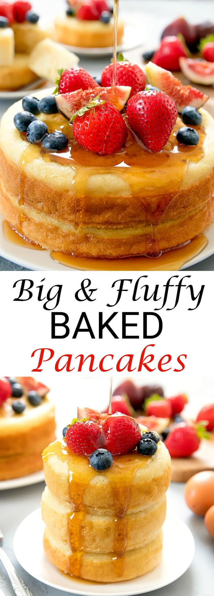 Big and Fluffy Baked Buttermilk Pancakes. These giant pancakes make for a fun brunch! - from kirbiecravings.com