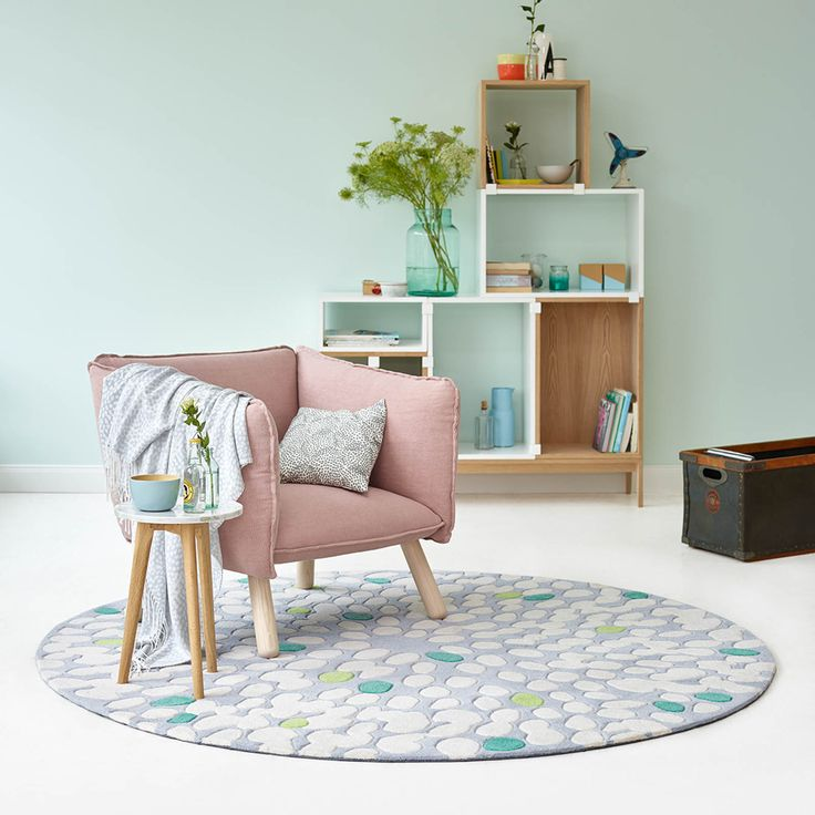 Fluttery Circular Rugs 4205 03 by Esprit in Grey and Green