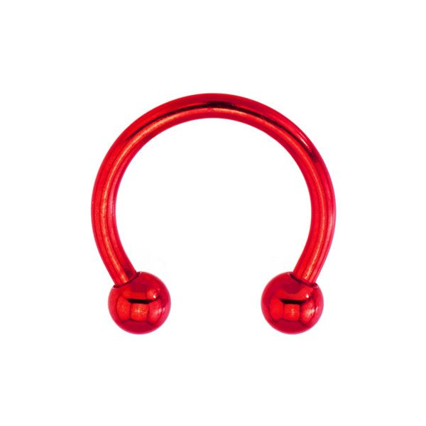 "14 Gauge Red Electro Titanium Horseshoe -1/2"" ❤ liked on Polyvore featuring jewelry, piercings, accessories, body jewelry, red jewellery, titanium body jewelry, red jewelry and body jewellery"