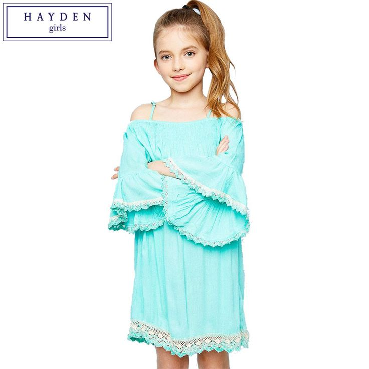 HAYDEN Girls Off Shoulder Dress Kids Boho Dresses Chic Hippie Bohemian Clothing Brands Dress for Teenage Girl Age 7 to 14 Years #Affiliate