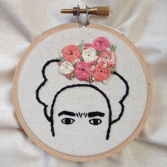 Handmade Embroidery Hoop Art Frida Kahlo by TheCraftRoomMaven