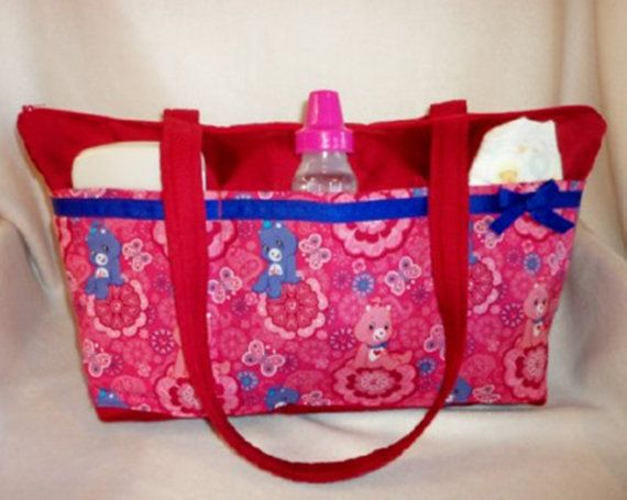 Care Bear pink paisley SALE 16% off My largest low sleek 11 pocket diaper bag twin bag dads diaper bag purse or travel bag for all ages