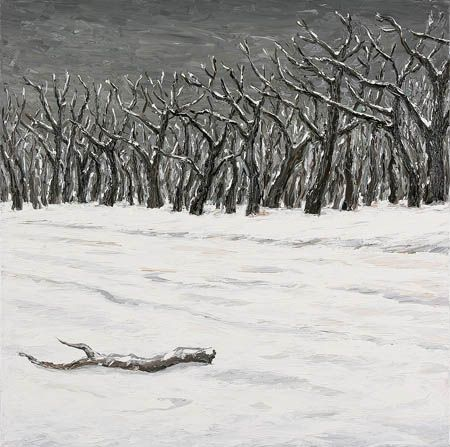 Peter Booth - Painting (snow scene - trees and road), 2006
