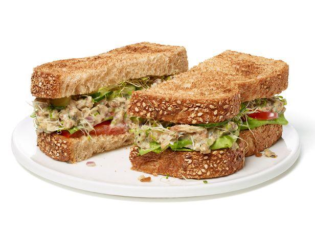 Sardine Salad Sandwich - canned sardines, light mayo, dijon mustard, celery, onion, dill, lemon juice and zest