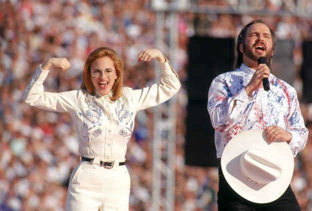 '80s Garth Brook singing the national anthem at the Super Bowl while Marlee Matlin signs