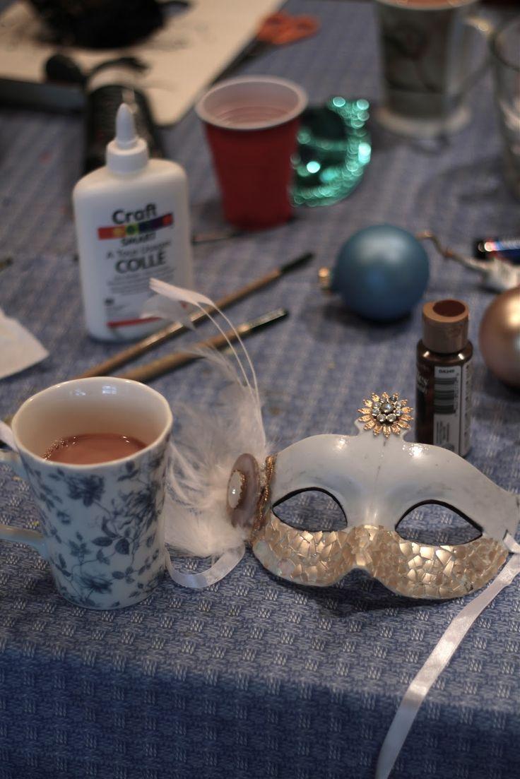 Christmas ornaments to create a unique masquerade mask