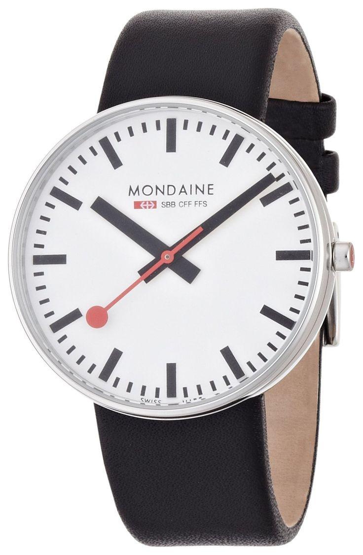 Amazon.com: Mondaine Men's A660.30328.11SBB Giant Size Leather Band Watch: Mondaine: Watches