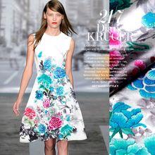 118 * 110 см 19 мм 93% шелк и 7% спандекс 19 мм синий и розовый цветочный принт атласной ткани для платья рубашки одежды choengsam D016(China (Mainland))